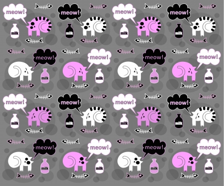 Сats on a gray background Vector
