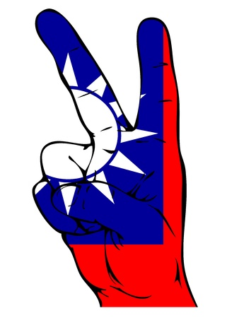 national colors: Peace Sign of the Taiwan flag Illustration