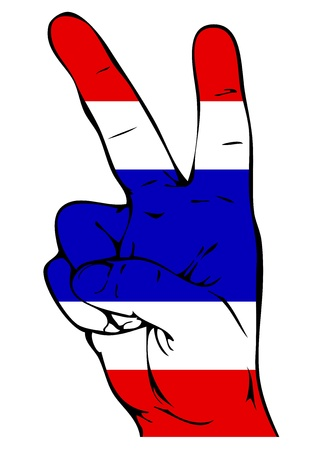 Peace Sign of the Thai flag Illustration