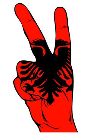 albanian: Peace Sign of the Albanian flag