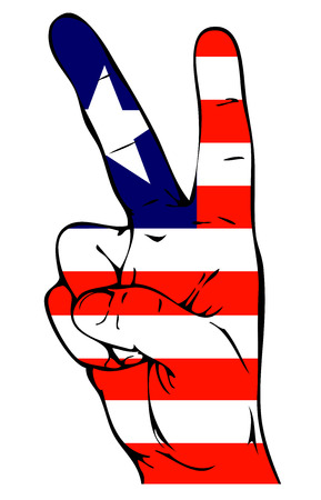 victorious: Peace Sign of the Liberian flag Illustration