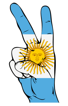 victorious: Peace Sign of the Argentinean flag Illustration