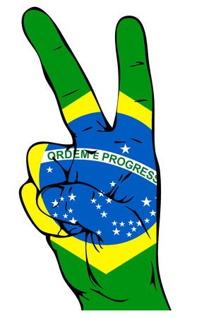 Signe de paix du drapeau brésilien Banque d'images - 23103774