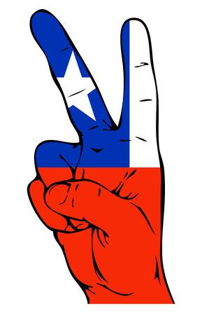 bandera chilena: Signo de la paz de la bandera chilena Vectores
