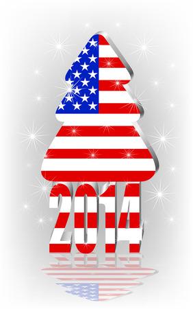merrily: Albero di Natale con la bandiera americana Vettoriali