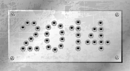 2014 of gun bullets holes Vector