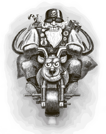 cartoon biker: Santa Claus Biker