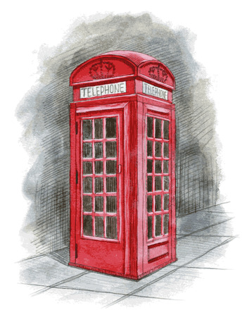 telephone box: English telephone box drawn by hand