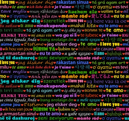 I love you in all languages seamless background Vector