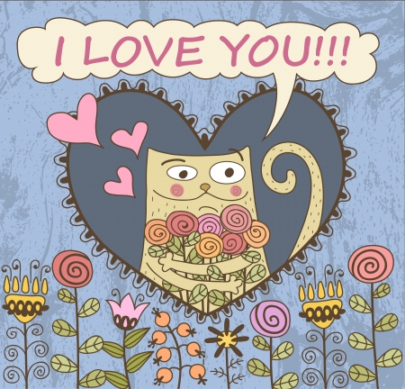 Valentines Day Card. Cat with flowers Vector