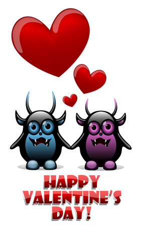 Valentines day card with devils in love Vector