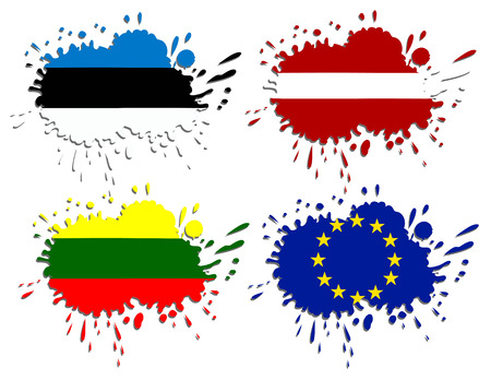 Flags of Baltic as spots Vector