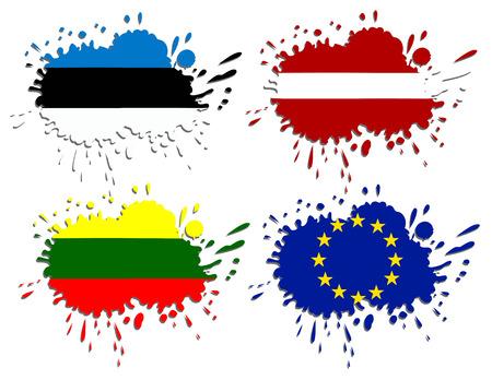 kaunas: Flags of Baltic as spots