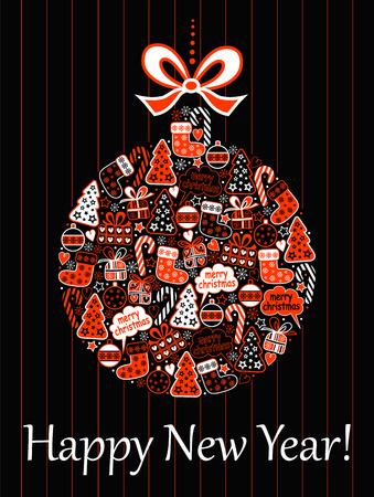 funn: Christmas card with a ball