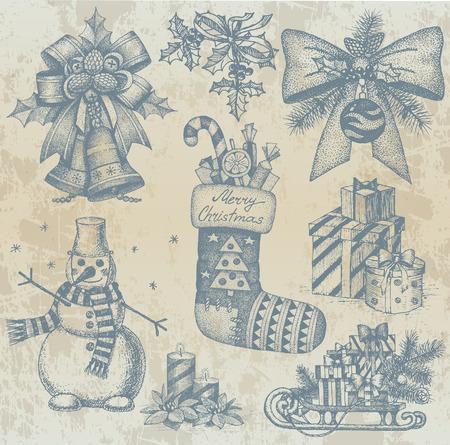 plushy: Christmas retro drawings by hand Illustration