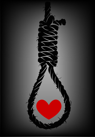 Old rope with hangmans noose and heart
