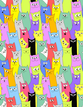 cuddly: Cats. Seamless funny background
