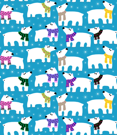 northern lights: Polar bears on blue background