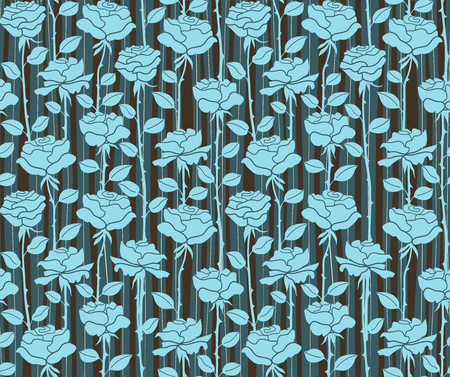 odors: Roses. Seamless blue background with stripes Illustration