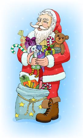 baile caricatura: Santa Claus con regalos