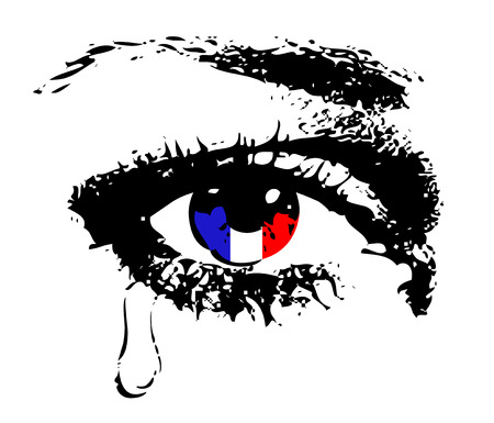 tear: Crying eye with flag of France