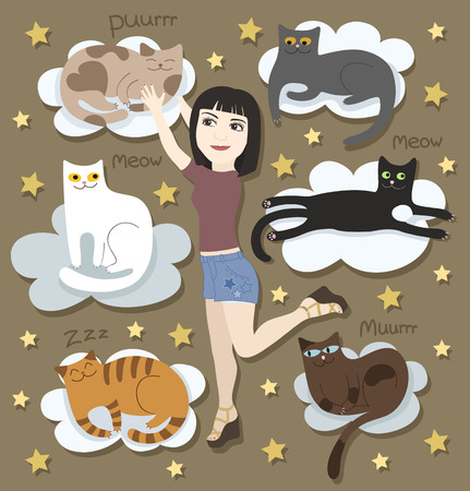 Girl with funny cats on clouds Illustration