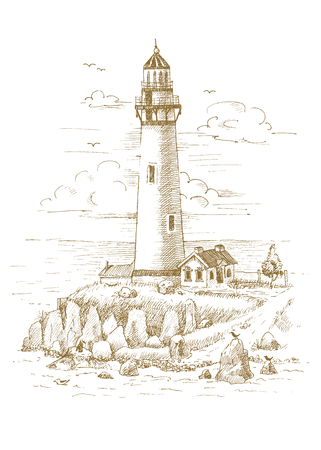 Lighthouse on the coast drawn by hand Illustration