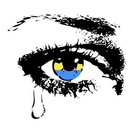 ojos llorando: El llanto del ojo con la bandera de Ucrania