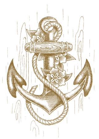 gefesselt: Sea Anker mit Seil und Blumen von Hand gezeichnet