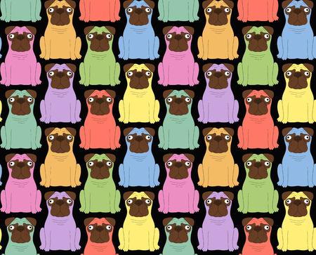 clonacion: perros de colores divertidos. De fondo sin fisuras Vectores