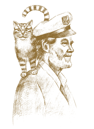 dog pen: Old sailor with a cat