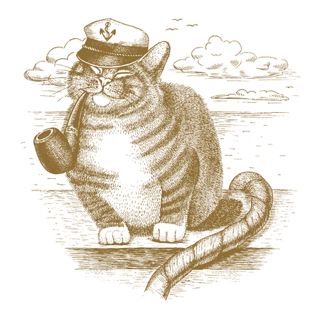 Cat captain drawn by hand Illustration
