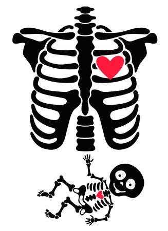 W ciąży. Śmieszne szkielety mama i dziecko Ilustracje wektorowe