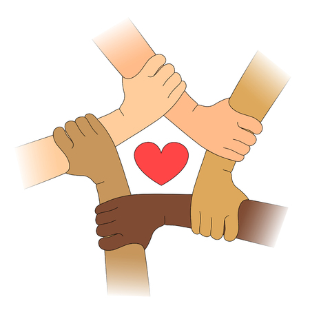 Hands of different races with heart