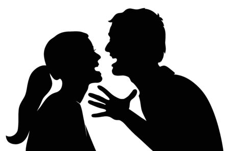 Swearing couple. Silhouette on a white background Illustration