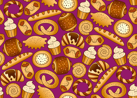 Bakery products on the black seamless background Illustration