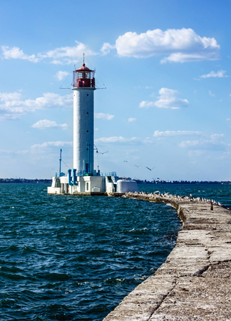 navigational light: Old Vorontsov lighthouse in Odessa harbor, Ukraine. Stock Photo