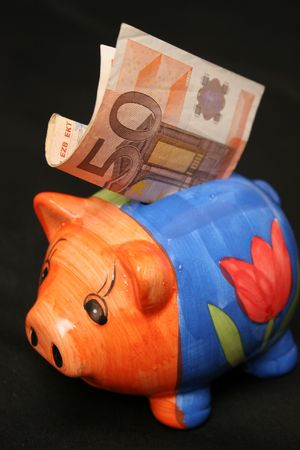 bankomat: fifty euro and piggy
