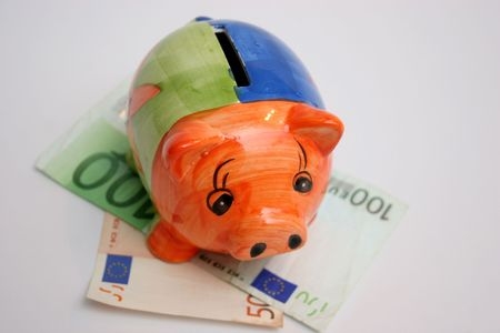 bankomat: hundred and fifty euro and piggy