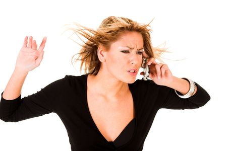 young woman calling by mobile phone, rage and reaction photo