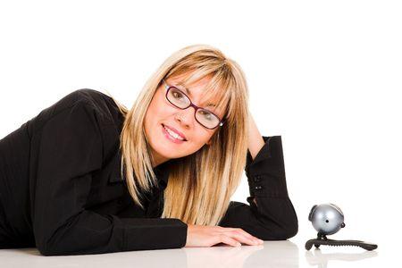 telecommute: A businesswoman and webcam