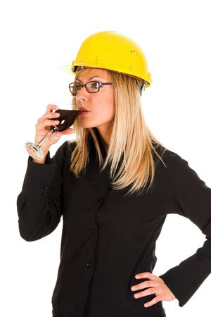 A businesswoman with a glass of wine photo