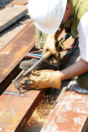 craftsman and welder at work Stock Photo