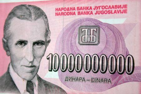 macedonia: inflation cash, ten milliard dinara, Nikola Tesla Stock Photo