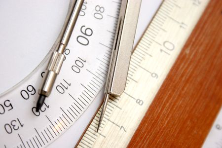 compasses: ruler and compasses Stock Photo