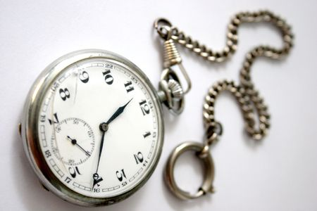 pocket watch broken in isolated photo