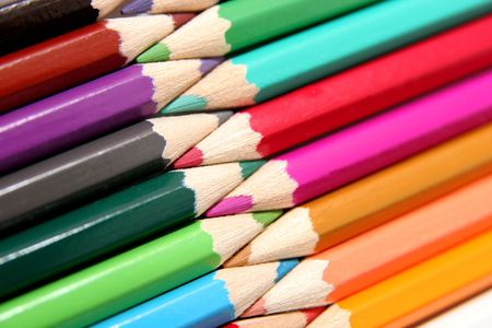 colored pencils in isolated