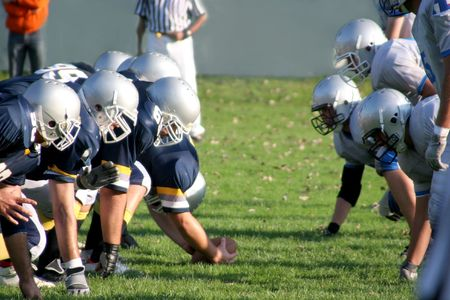 football players: football players, offense � defense in action Stock Photo