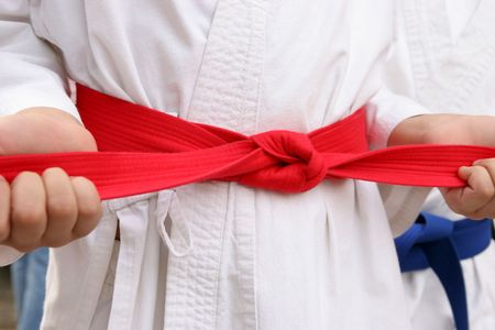 karate red belt Stock Photo