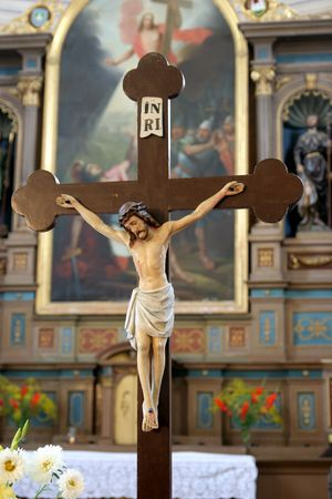 Jesus Christ on the cross in church Stock Photo - 696009